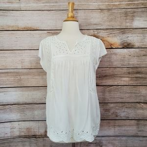 Lucky Brand White Boho Embroidered V Neck Blouse